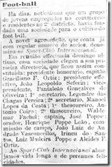 Notícia sobre a fundação do SC Internacional veiculada no jornal Correiro do Povo de 1909